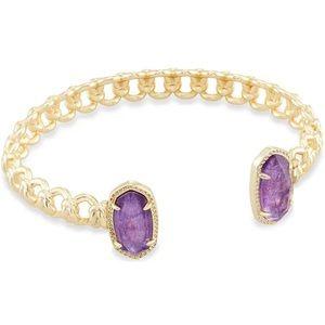 EUC Elton Yellow Gold Macrame Bracelet in Purple Mica